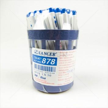 LANCER ปากกาลูกลื่น กด 0.7 CLIC878 <1/50> สีน้ำเงิน