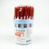 LANCER ปากกาลูกลื่น ปลอก 0.5 SPIRAL 825 <1/50> สีแดง